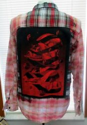 Oneofakind Designer Deconstructed Flannel Shirt By Coco - Red Darth Vader