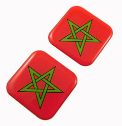 Morocco Flag Square Domed Decal Car Bike Gel Stickers 1.5 2pc