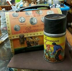 Vintage 1957 Buccaneers Dome Metal Lunchbox With Thermos