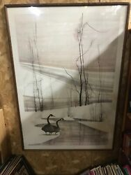 Large P Buckley Moss Signed Goose Winter Print