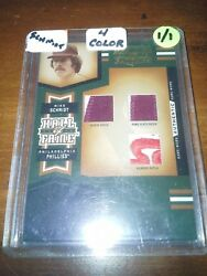 2005 H.o.f. Mike Schmidt Triple Jersey 1/1 Sleevename Platenumber Patchs