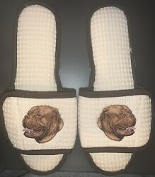 Soft Spa Slipper Salon Waffle Adjustable Shoes - Dog Embroidered - LARGE - NEW