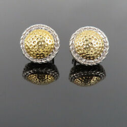 Vintage Hammer And Rope Finish 14k White And Yellow Gold Earrings
