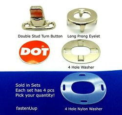 Dot Common Sense Twist Turn Button Fasteners - Double Stud 8mm 4 Hole And Long