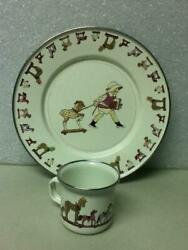 Vintage, 2-pc Child's Tea Set- Beige Enamelware With Girl And Horses Pull Toy