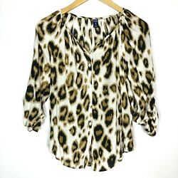Old Navy Womens Animal Leopard Print 34 Sleeve Button Down Blouse Top Size XS