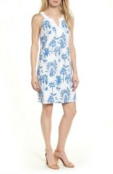Tommy Bahama XS White and Blue Floral Shift Dress Palm Tree Linen Cotton A2