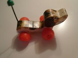Vintage 60s Little Snoopy Fisher Price Pull Toy Dog Wood 1968 Clacking Noise 693