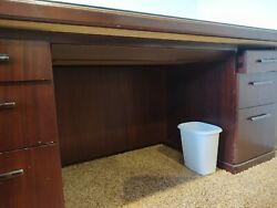 Kimball Mahogany Double Pedestal Executive Office Desk With Glass Covered Top