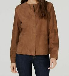 New 1875 Weekend Max Mara Womenand039s Brown Real Soft Leather Casual Jacket Size 8