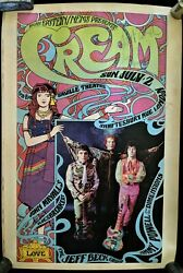 Cream Live At Saville 1967 Original Poster Signed Jeff Beck Mayall And Powell