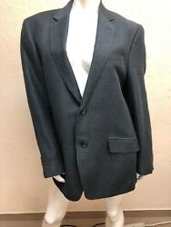 Etro Mens Blue And Green Check Wool And Linen Single Breast Blazer Jacket Size 54r