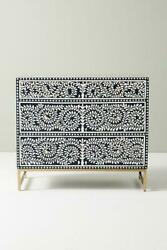 Indian Handmade Bone Inlay Chest Of 3 Drawer Flower Design Blue Color