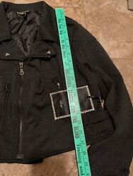Love Stitch Military Style Crop Bomber L Jacket Metal Accents Nwt 128