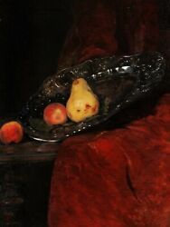 René Legrand French Oil Painting Still Life Fruits Pears Grape Silver Dish Plate