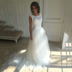 Beach Wedding Dress For Female Lace O neck Sleeveless Long Gowns Bridal Dresses $114.99