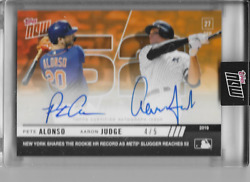 2019 Topps Now Pete Alonso And Aaron Judge 906e Rookie Hr's Dual Auto 'd 4/5