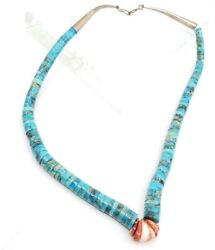 Fine Vintage Sterling Silver Native American Heishi Beaded Turquoise Necklace