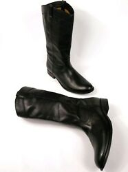 Frye Womenand039s Tall Boots Melissa Pull On Western Black Leather 3471447 Sz 10 358