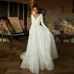 Full-sleeve Brides Dress Backless Sexy Lace Ladies Bridal Gown V-neck Soft Cloth