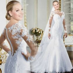 Backless Wedding Dress See-through Lace Clothing Bride Long Mermaid Gown Dresses