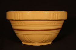 Rare Scalloped Brown And White Band 7 Inch Bowl Yellow Ware Mint
