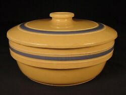 Rare Blue And White Band 8 3/4 Covered Bowl Watt Pottery Yellow Ware