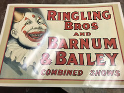 Vintage Barnum And Bailey Poster Lamiated 18 X26