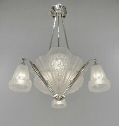 PETITOT : signed FRENCH 1930 ART DECO CHANDELIER ....... muller and degué shades