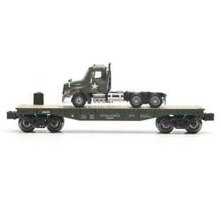 Set Of 4 O Gauge Realistic Train Military Flatcar Us Army Tractor Dealer Pack