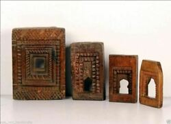 Antique Wooden Miniature Hand Carved Different Size 4 Wall Hanging Frames Mirror