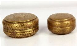Antique Brass Tribal Set Of Small Round Multipurpose Boxes Bangles / Jewelry Box