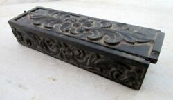 Antique Wooden Miniature Hand Carved Leaf And Flower Design Pencil Box Decorative