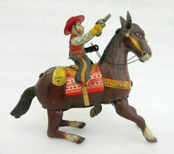 Vintage Cow Boy On Horse With Gun Wind Up Litho Tin Toy Made In Japan Collectibl
