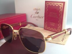VINTAGE CARTIER MONCEAU 18K GOLD & WOOD 5318 DRAKE BROWN LENS FRANCE SUNGLASSES