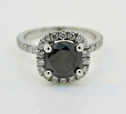 14k White Gold 2.20ct Black And White Diamond Micro Pave Wedding And Engagement Ring