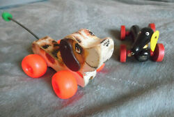 Vintage Wooden Dog Pull Toys...dachshund And Little Snoopy