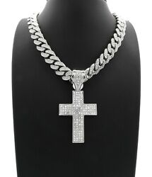 HOLY CROSS PENDANT SILVER CUBAN LINK CHAIN NECKLACE HIP HOP ICED STAINLESS STEEL $49.99