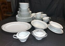 Noritake China Crestmont Pattern Service For 8 With 5 Serving Pcs Minus One Pc