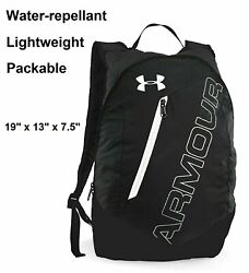 Under Armour UA Packable Black amp; White Lightweight Backpack Bag for Hiking Gym $24.99