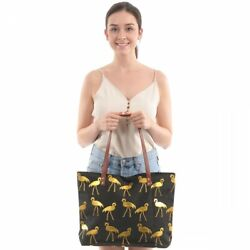 Black Flamingo Large Tote Canvas Beach Bag with Leather Handle Travel Hand Bag $16.00