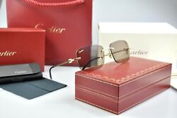 New Cartier Rimless SOLID GOLD 750 Sunglasses Occhiali Frame Oro Lunette Brille
