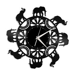 Elephant Circle Vinyl Wall Clock Unique Gift for Animal Lovers Room Decoration