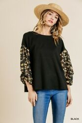 Umgee Floral Burnout Sleeve Waffle Knit Tie-back Top Size S