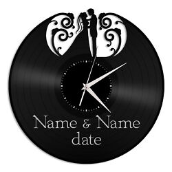 Wedding Silhouette Vinyl Wall Clock Unique Gift for Friends Home Room Decoration