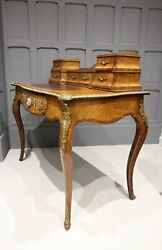A Victorian Walnut Writing Table / Desk With Porcelain Plaque