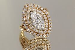 3.00ctw H/si Diamond Right Hand/cocktail Ring 14k Rose Gold Size 7 Andfrac14