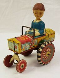1940and039s Marx Dora Queen Of The Campus Tin Wind Up Bobble Head Crazy Car Rare