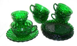 6 Anchor Hocking Forest Green Bubble Coffee Cups And Saucers Depression Glass