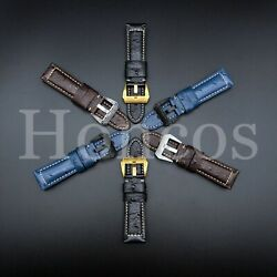 22 - 24 Mm Ostrich Leather Watch Band Strap Clasp Fits For Vintage Custom Made